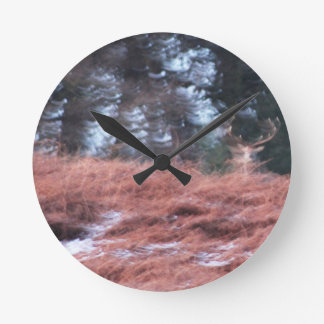 Stag on a hill round clock