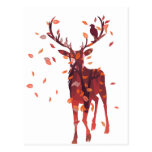 Stag Silhouette with Forest 2 Postcard