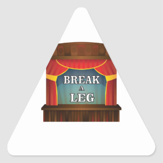 stage break a leg triangle sticker