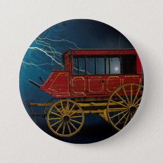 STAGE COACH IN LIGHTNING STORM 7.5 CM ROUND BADGE