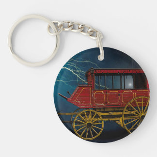 STAGE COACH IN LIGHTNING STORM KEY RING