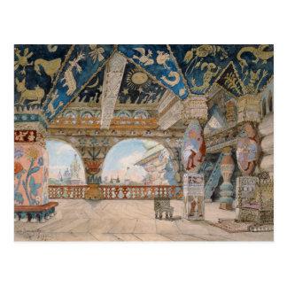 Stage design for Nikolai Rimsky-Korsakov's opera Postcard