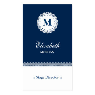 Stage Director Blue White Lace Monogram Pack Of Standard Business Cards
