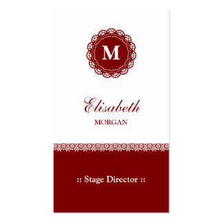 Stage Director - Elegant Red Lace Monogram Pack Of Standard Business Cards