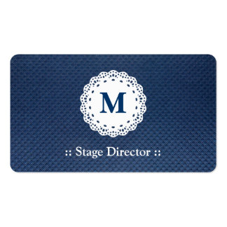 Stage Director - Lace Monogram Blue Pattern Pack Of Standard Business Cards