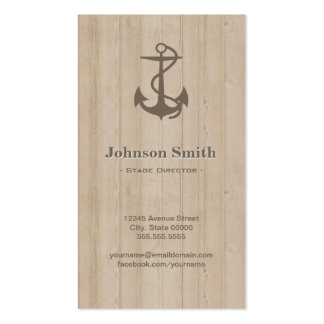 Stage Director - Nautical Anchor Wood Pack Of Standard Business Cards