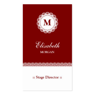 Stage Director Red White Lace Monogram Pack Of Standard Business Cards