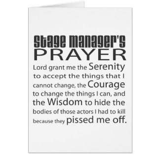 Stage Manager's Prayer Card