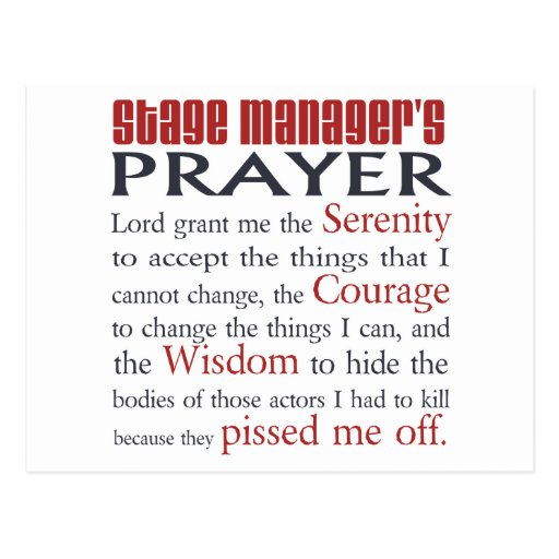 Stage Manager's Prayer Postcard