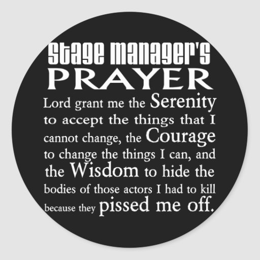Stage Manager's Prayer Stickers