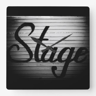 """""""Stage"""" Vintage Sign Square Wall Clock"""