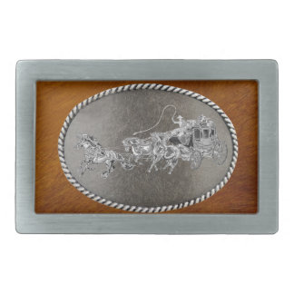 STAGECOACH CHROMED RECTANGULAR BELT BUCKLES