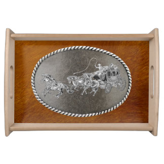 STAGECOACH CHROMED SERVING TRAY