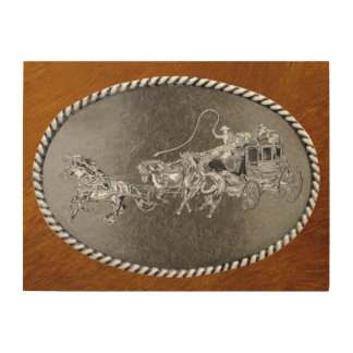 STAGECOACH CHROMED WOOD WALL ART