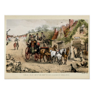 Stagecoach outside a coaching inn poster