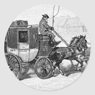 stagecoach-travel-3A stage coach-Baldwin's Reader. Round Sticker