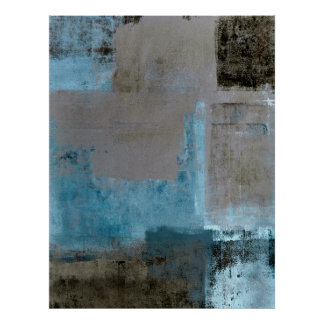 'Staged' Teal and Brown Abstract Art Poster Print