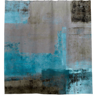 'Staged' Teal and Brown Abstract Art Shower Curtain