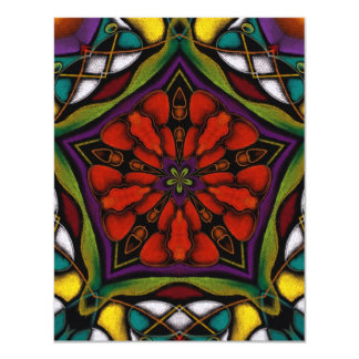"Stain Glass Abstract 4.25"" X 5.5"" Invitation Card"
