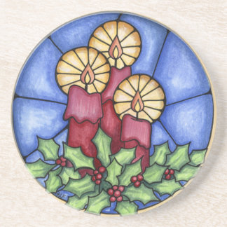Stain Glass Candles christmas Coaster