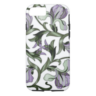 Stain-Glass Chinese Flowers Green & Purple iPhone 8/7 Case