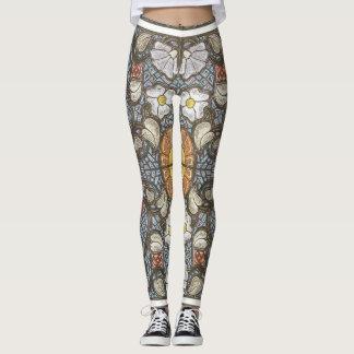 Stain-glass design flower leggings