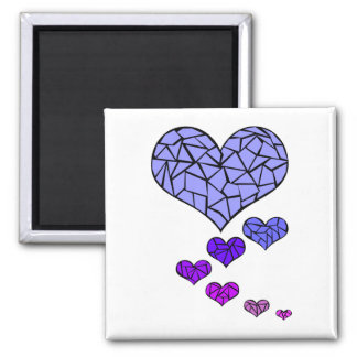 Stain Glass hearts magnet