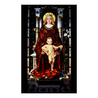 Stain Glass Virgin Mary Poster