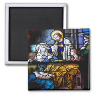 stain glass window square magnet