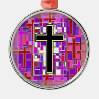 Staind Glass Cross Perspective. Silver-Colored Round Decoration