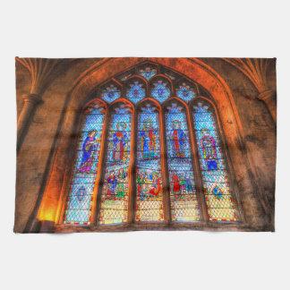 Stained Glass Abbey Window Tea Towel