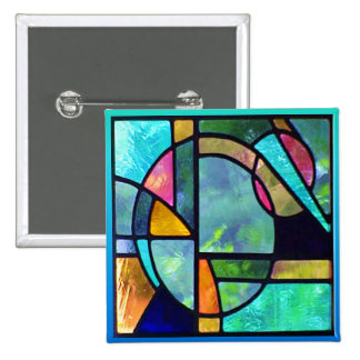 Stained Glass Abstract 1 15 Cm Square Badge
