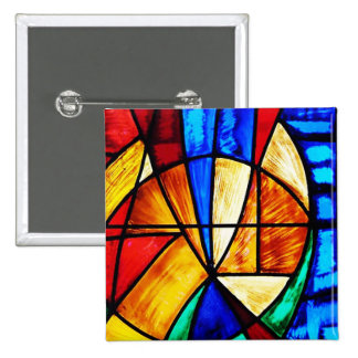 Stained Glass Abstract 2 15 Cm Square Badge