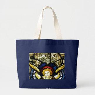 stained glass angel design large tote bag