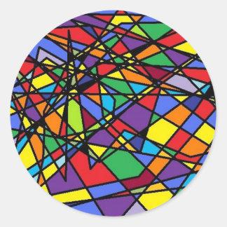 Stained Glass Art Shattered Window Round Sticker