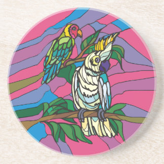 Stained glass birds colorful parrots coaster