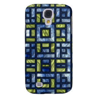 STAINED GLASS BLUE & GREEN GALAXY S4 COVER