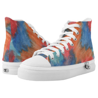 Stained Glass Brush Strokes Hi Top Printed Shoes