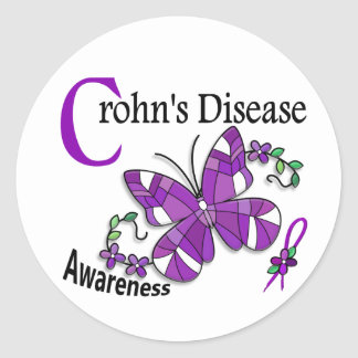 Stained Glass Butterfly 2 Crohn's Disease Round Sticker
