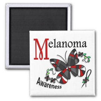 Stained Glass Butterfly 2 Melanoma Square Magnet