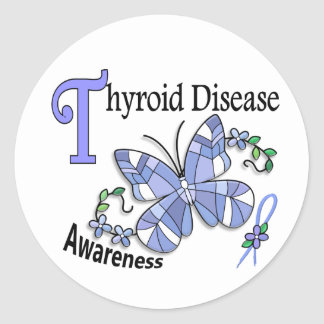 Stained Glass Butterfly 2 Thyroid Disease Round Sticker
