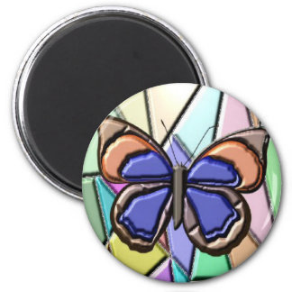 Stained Glass Butterfly 6 Cm Round Magnet