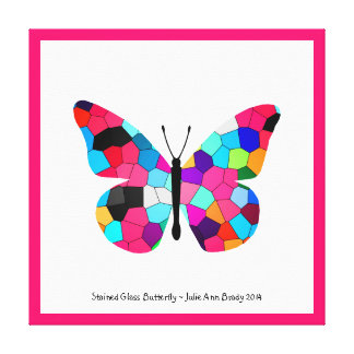Stained Glass Butterfly Stretched Canvas Prints