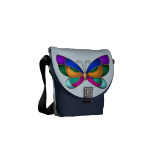 Stained Glass Butterfly Courier Bag
