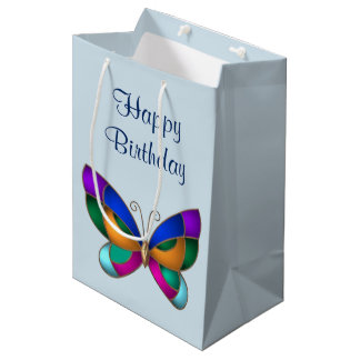 Stained Glass Butterfly Medium Gift Bag