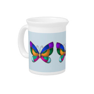 Stained Glass Butterfly Pitcher