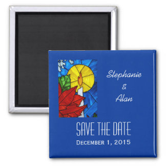Stained Glass Candle Save The Date Magnet