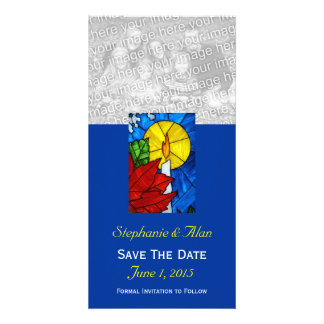 Stained Glass Candle Save The Date Photo Card