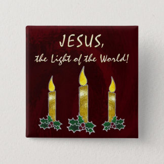 Stained glass candles 15 cm square badge