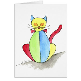 Stained Glass Cat Card